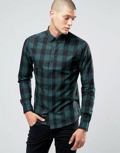 Рубашка в клетку на пуговицах Only & Sons - Зеленый