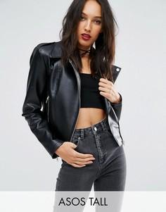 Байкерская куртка из искусственной кожи со строчками ASOS TALL Ultimate - Черный