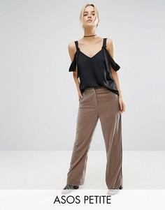 Бархатные пижамные брюки ASOS PETITE - Бежевый