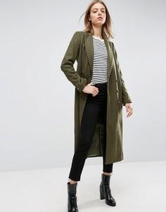 Полушерстяное пальто в стиле милитари ASOS - Зеленый