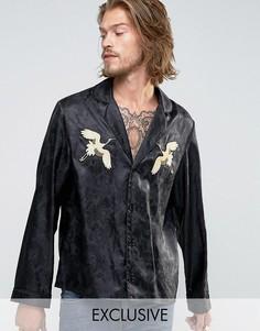 Рубашка классического кроя в пижамном стиле Reclaimed Vintage Souvenir - Черный