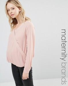 Тканая блузка для беременных и кормящих с запахом и длинными рукавами Mamalicious Nursing - Розовый Mama.Licious