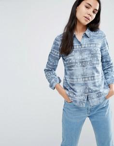 Синяя джинсовая рубашка с эффектом кислотной стирки Vero Moda Shila - Синий