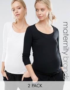 Набор из 2 трикотажных топов с длинными рукавами для беременных и кормящих Mamalicious - Мульти Mama.Licious