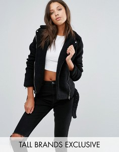 Удлиненная байкерская куртка из искусственной овчины Missguided Tall - Черный