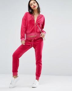 Велюровые джоггеры с принтом логотипа Juicy Couture - Розовый