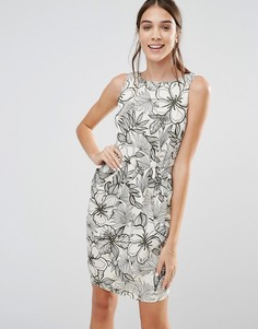 Платье с овальным вырезом сзади и цветочным принтом Closet - Кремовый