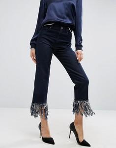 Прямые джинсы с бахромой по краю ASOS Authentic - Синий