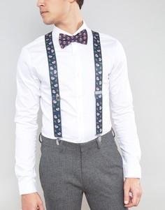 Новогодний подарочный набор с галстуком-бабочкой и подтяжками ASOS - Темно-синий