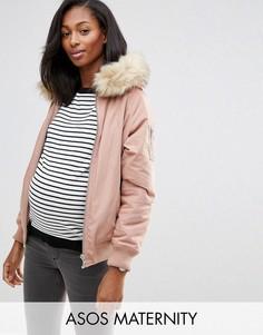 Куртка-пилот для беременных с искусственным мехом ASOS Maternity - Бежевый