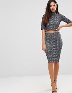 Фактурное облегающее платье с высокой горловиной TFNC - Серый