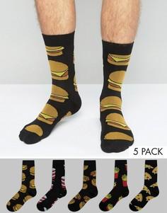 Набор из 5 пар носков с принтом фаст-фуд ASOS - Черный