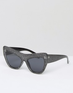 Солнцезащитные очки кошачий глаз с блестящей оправой Le Specs - Черный