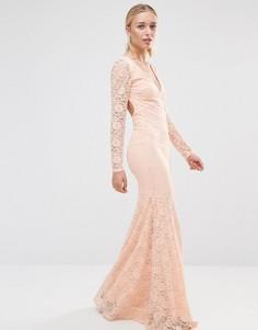 Кружевное платье с длинными рукавами и открытой спиной City Goddess - Розовый