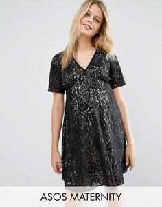 Кружевное чайное платье для беременных в стиле 40-х ASOS Maternity - Черный