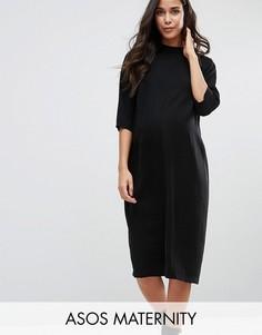 Платье миди для беременных с высокой горловиной ASOS Maternity - Черный