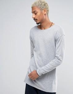 Серый длинный джемпер из хлопка с овальным вырезом ASOS - Серый