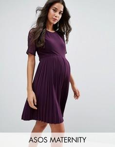 Плиссированное платье мини с кружевом ASOS Maternity - Розовый
