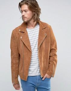 Светло-коричневая замшевая байкерская куртка со стеганой отделкой ASOS - Рыжий