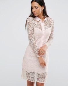 Кружевное платье‑рубашка AX Paris - Розовый