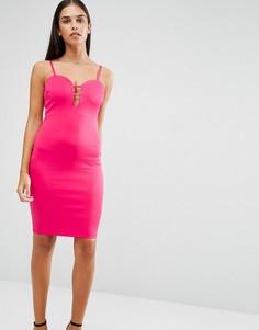 Облегающее платье с глубоким вырезом и отделкой AX Paris - Розовый