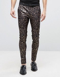 Супероблегающие строгие брюки с леопардовым принтом ASOS - Золотой