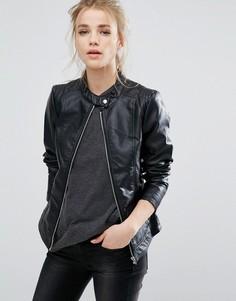 Байкерская куртка из искусственной кожи Vila - Черный