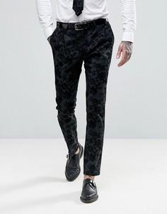 Супероблегающие брюки стретч с цветочной отделкой флок Noose & Monkey - Серый
