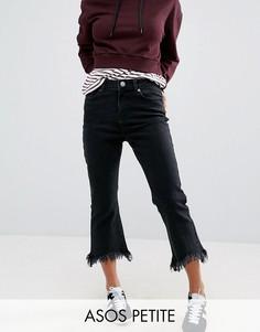 Черные выбеленные укороченные джинсы клеш ASOS PETITE - Черный
