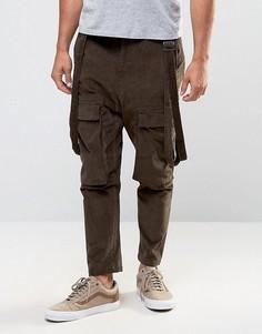 Коричневые вельветовые брюки с заниженным шаговым швом ASOS - Коричневый