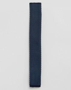 Темно-синий вязаный галстук в крапинку Feraud - Темно-синий