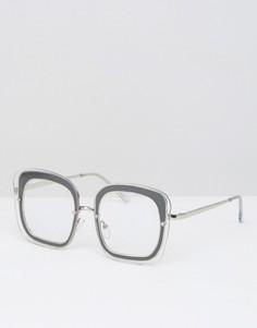 Квадратные очки с прозрачными стеклами ASOS - Черный