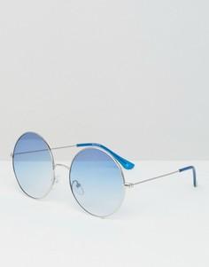 Большие круглые солнцезащитные очки с синими стеклами ASOS - Серебряный