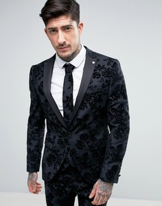 Зауженный пиджак стретч с цветочной отделкой флок Noose & Monkey - Серый