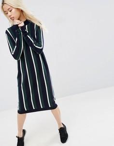 Платье миди в полоску с добавлением кашемира ASOS WHITE - Мульти