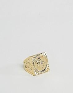 Позолоченное кольцо с совереном ASOS - Золотой