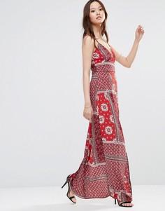 Платье макси без рукавов с принтом и разрезом Girl In Mind Sophia - Красный