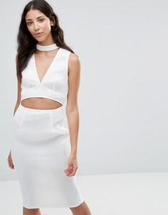 Платье с вырезом и горловиной в стиле чокер Girl In Mind Liana - Белый