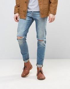 Голубые джинсы скинни плотностью 12,5 унций с прорехами на коленях ASOS - Синий