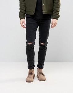Черные джинсы скинни плотностью 12,5 унций с прорехами ASOS - Черный