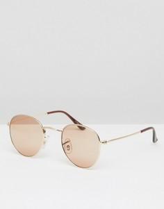 Круглые солнцезащитные очки с золотистой металлической оправой ASOS - Золотой