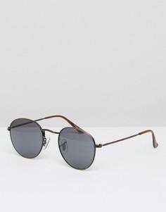 Круглые солнцезащитные очки в металлической оправе ASOS - Коричневый