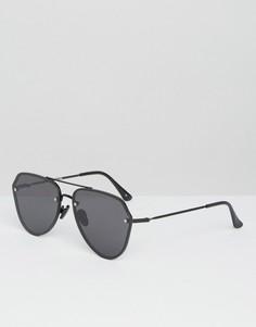 Черные солнцезащитные очки-авиаторы с плоскими стеклами ASOS - Черный