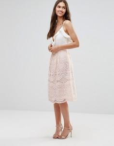 Короткая расклешенная юбка из кружевной ткани Darling - Бежевый
