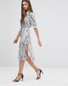 Платье-рубашка с цветочным принтом и рукавами 3/4 Darling - Синий
