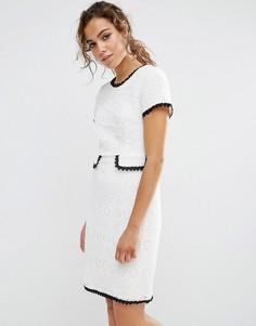 Фактурное цельнокройное платье с контрастной отделкой Darling - Кремовый