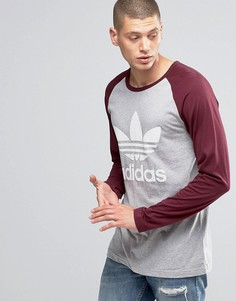 Серый лонгслив с логотипом-трилистником adidas Originals AY8250 - Серый