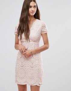 Кружевное цельнокройное платье с короткими рукавами Darling - Бежевый