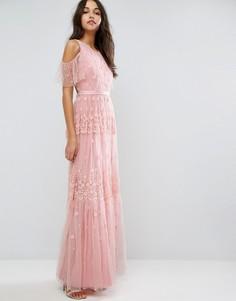 Платье макси с вышивкой и открытыми плечами Needle & Thread - Розовый