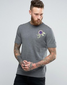 Трикотажная футболка с вышивкой ASOS - Серый